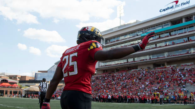 Maryland Terrapins defensive back Antoine Brooks Jr. (25) reacts after breaking up a pass in the end zone against the Syracuse Orange during the second half at Capital One Field at Maryland Stadium.
