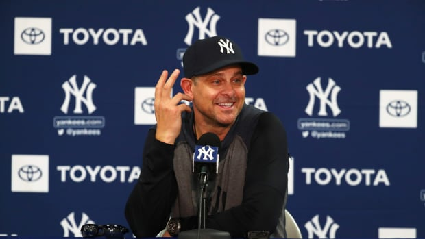 Aaron Boone laughs in Spring Training Press Conference