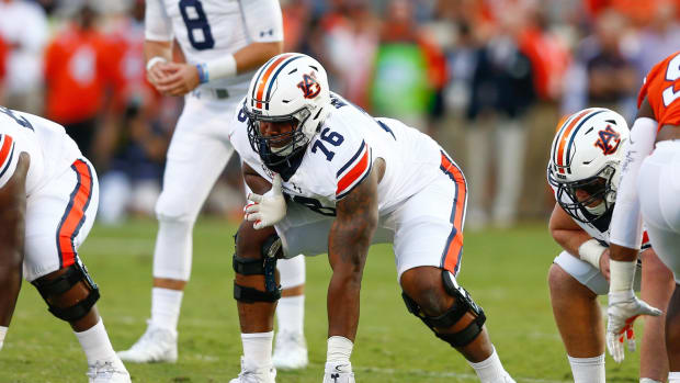 Auburn Tigers offensive lineman Prince Tega Wanogho (76) lines up during the game against the Clemson Tigers at Clemson Memorial Stadium.