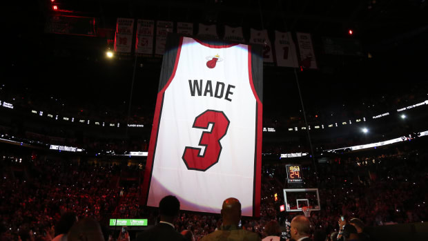 Dwyane Wade's No. 3 jersey was lifted into the Miami Heat rafters on Saturday.