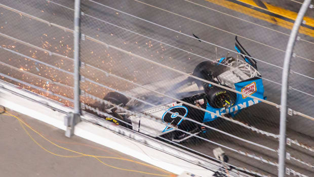 Ryan Newman crashes in the final lap of the Daytona 500.