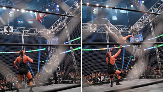 AEW's Cody Rhodes performs a moonsault from the top of a steel cage during his match against Wardlow
