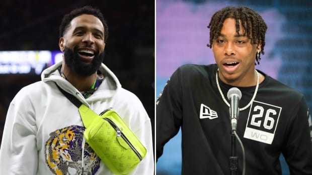 Split image of Cleveland Browns WR Odell Beckham Jr. on the field at the 2019 national championship game and LSU WR Justin Jefferson