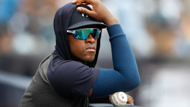Luis Severino watching from dugout
