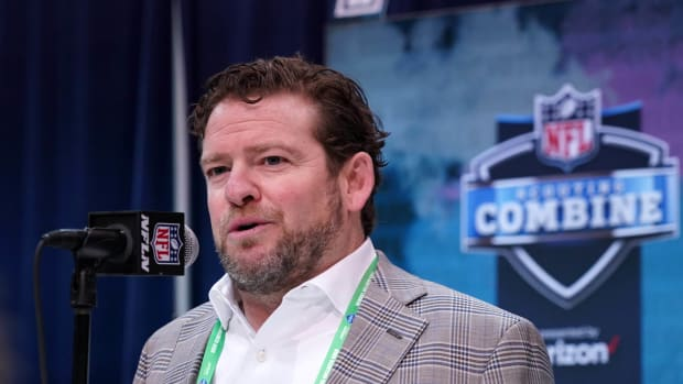 Seattle Seahawks general manager John Schneider speaks during the NFL Scouting Combine at the Indiana Convention Center.