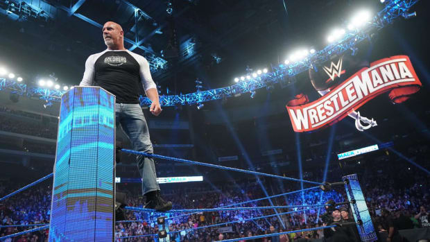 Bill Goldberg poses in the ring on WWE SmackDown