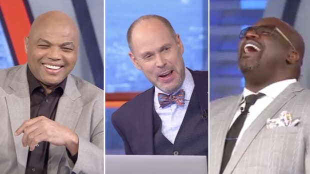 Split image of Charles Barkley, Ernie Johnson and Shaquille O'Neal laughing on the set of 'Inside the NBA'