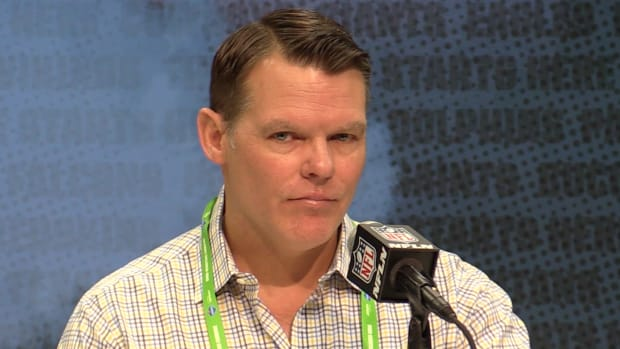 Indianapolis Colts general manager Chris Ballard talks prospects Tuesday at the NFL Scouting Combine.