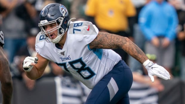 Tennessee Titans offensive tackle Jack Conklin (78) during the first quarter against the Oakland Raiders at Oakland Coliseum.