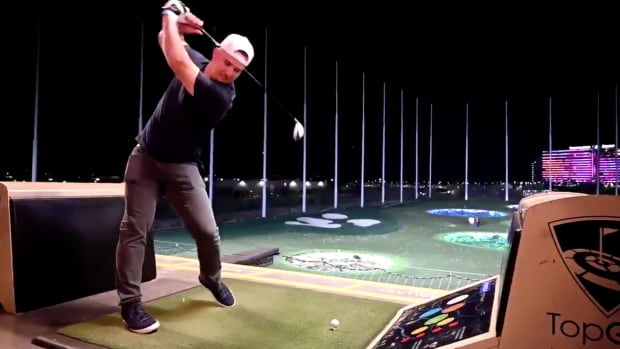 Screenshot from video of Los Angeles Angels star Mike Trout at Top Golf
