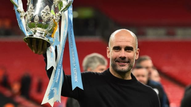 Manchester City Spanish Manager Pep Guardiola Celebrates Win
