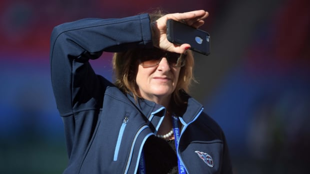 Tennessee Titans owner Amy Adams Strunk reacts during an NFL International Series game against the Los Angeles Chargers at Wembley Stadium.