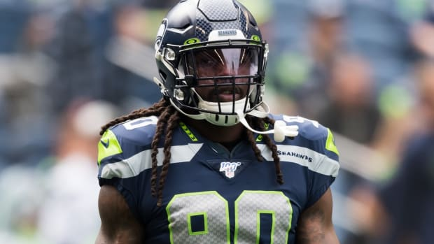 Seattle Seahawks defensive end Jadeveon Clowney (90) prior to the game against the Cincinnati Bengals at CenturyLink Field.