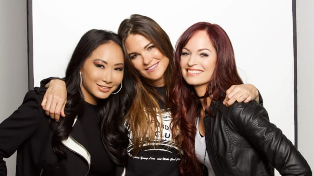 Portrait of pro wrestlers Gail Kim, Amy Dumas and Christy Hemme