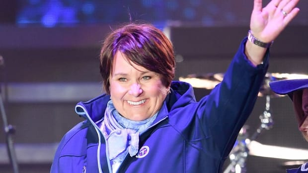 Titans owner Amy Adams Strunk speaks during the Titans uniform reveal event held at Broadway and 1st Avenue.