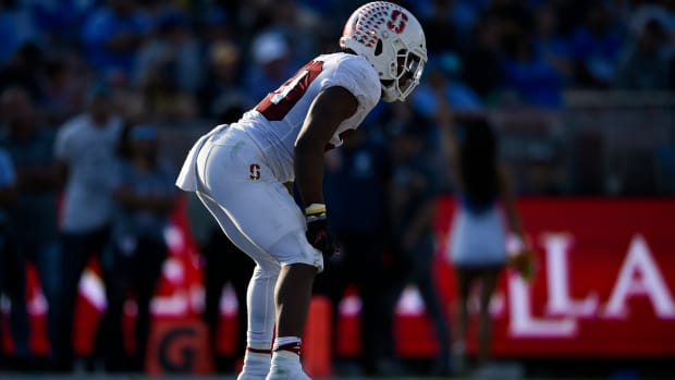 Bryce Love Stance © Kelvin Kuo-USA TODAY Sports