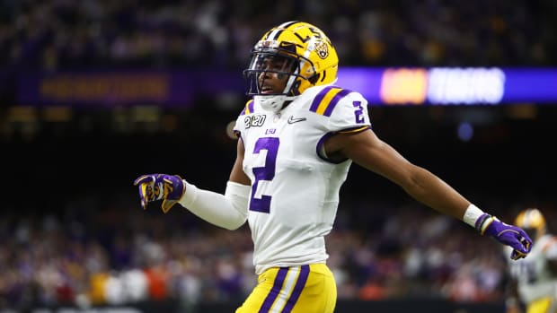 Jan 13, 2020; New Orleans, Louisiana, USA; LSU Tigers wide receiver Justin Jefferson (2) against the Clemson Tigers in the College Football Playoff national championship game at Mercedes-Benz Superdome.