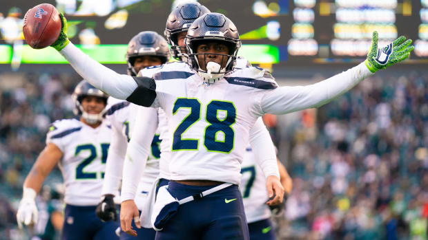 Seattle Seahawks cornerback Ugo Amadi (28) celebrates after downing a punt on the 1 yard line against the Philadelphia Eagles during the fourth quarter at Lincoln Financial Field.