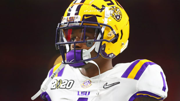 Jan 13, 2020; New Orleans, Louisiana, USA; LSU Tigers cornerback Kristian Fulton (1) against the Clemson Tigers in the College Football Playoff national championship game at Mercedes-Benz Superdome.
