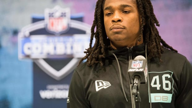 Feb 28, 2020; Indianapolis, Indiana, USA; Lenoir-Rhyne defensive back Kyle Dugger (DB46) speaks to the media during the 2020 NFL Combine in the Indianapolis Convention Center.