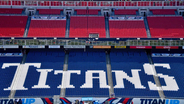 A general view of the Titans logo inside Nissan Stadium prior to the game between the Tennessee Titans and the Indianapolis Colts.