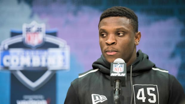 Feb 25, 2020; Indianapolis, Indiana, USA; Texas Christian wide receiver Jalen Reagor (WO45) speaks to the media during the 2020 NFL Combine in the Indianapolis Convention Center.