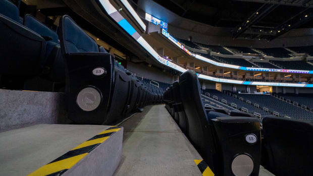Empty seats at the Chase Center.