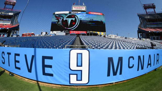 General view of a stadium wrap for former Tennessee Titans quarterback Steve McNair who will have his jersey retired during halftime of the Tennessee Titans game against the Indianapolis Colts at Nissan Stadium.