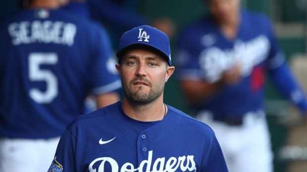 Mar 6, 2020; Phoenix, Arizona, USA; Los Angeles Dodgers outfielder A.J. Pollock against the Seattle Mariners during a spring training game at Camelback Ranch. Mandatory Credit: Mark J. Rebilas-USA TODAY Sports