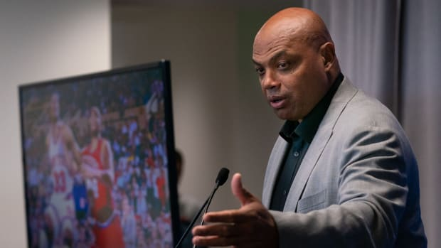 Charles Barkley speaks at a press conference.