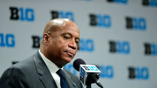 Big Ten commissioner Kevin Warren talks with the media about todays cancellation of the Mens Big Ten Tournament. The Big Ten Conference announced today that it will be cancelling the remainder of the Big Ten Men's Basketball Tournament, effective immediately in regard to the COVID-19 pandemic at Bankers Life Fieldhouse.