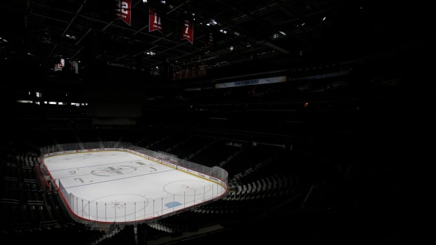 An empty Capital One Arena in Washington, D.C., after the coronavirus forced the NHL to suspend its season