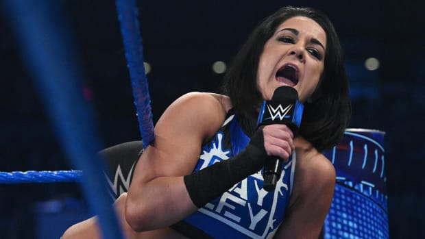WWE's Bayley cuts a promo in the ring on SmackDown