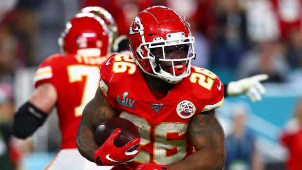 Damien Williams rushes in the fourth quarter of Super Bowl LIV.
