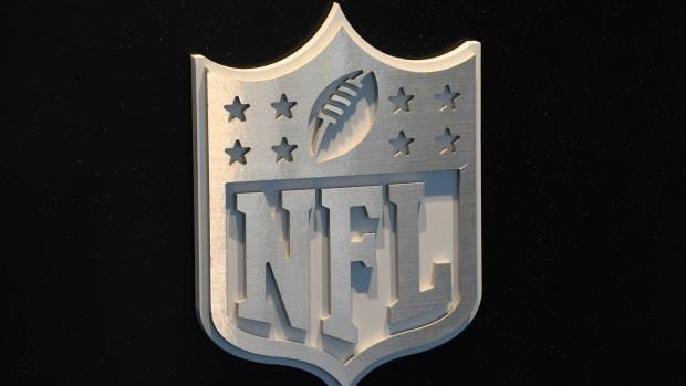 Apr 27, 2017; Philadelphia, PA, USA; NFL Shield logo at the 2017 NFL Draft at the Philadelphia Museum of Art.