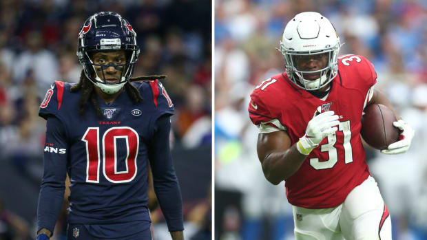 Split image of DeAndre Hopkins and David Johnson, subjects of Texans-Cardinals trade
