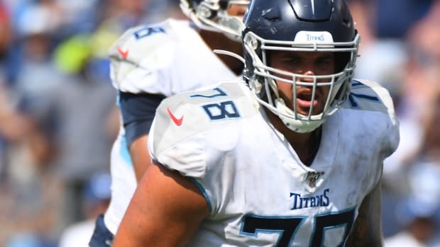 Tennessee Titans offensive tackle Jack Conklin (78) waits for the snap during the second half against the Indianapolis Colts at Nissan Stadium.