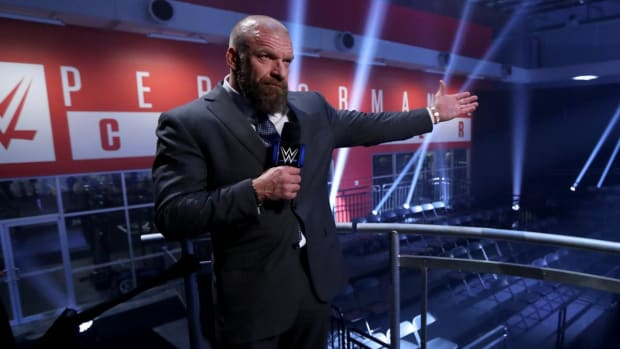 """WWE executive Paul """"Triple H"""" Levesque in an empty WWE Performance Center during SmackDown"""