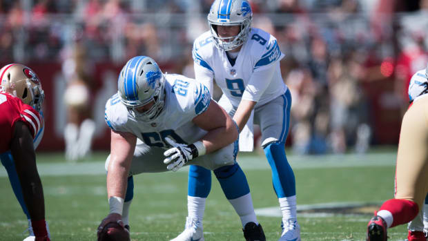 Detroit Lions offensive guard Graham Glasgow (60) in front of quarterback Matthew Stafford (9) during the first quarter against the San Francisco 49ers at Levi's Stadium. The 49ers defeated the Lions 30-27.