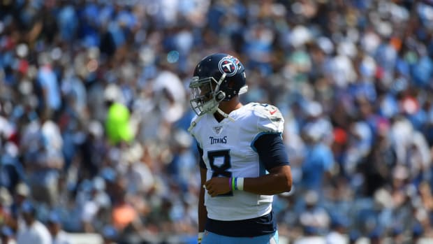Tennessee Titans quarterback Marcus Mariota (8) during the first half against the Indianapolis Colts at Nissan Stadium.