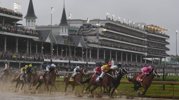 A view of the 2019 Kentucky Derby race.