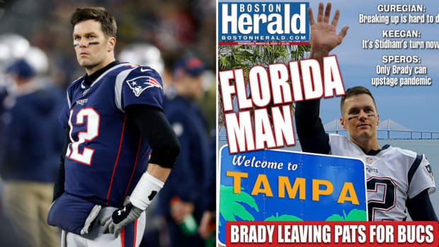 Split image of Tom Brady on the sideline with the New England Patriots and the Boston Herald cover announcing his departure to the Tampa Bay Buccaneers