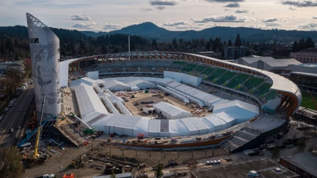 A March update on the renovations and construction to Hayward Field on the University of Oregon's campus.