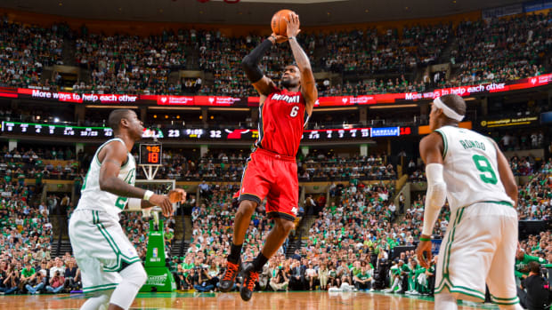 LeBron James takes a jump shot for the Miami Heat in Game 6 of the 2012 NBA Eastern Conference Finals against the Celtics