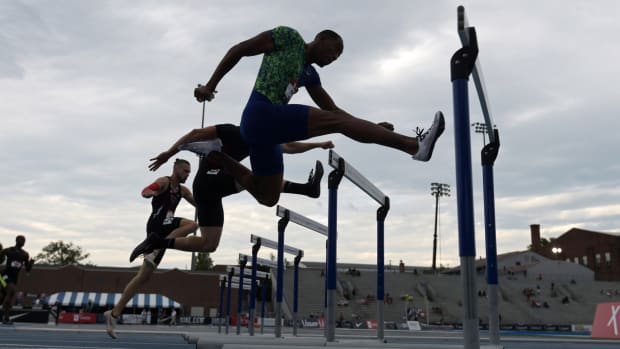 Hurdlers at the 2019 USA Track and Field Outdoor Championships.