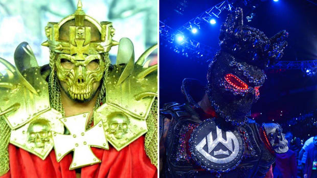 Split image of Triple H's WrestleMania 30 entrance and Deontay Wilder's entrance vs Tyson Fury