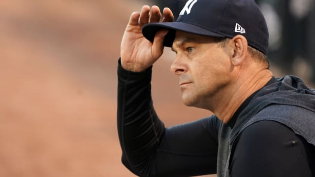 Aaron Boone looking serious during Spring Training