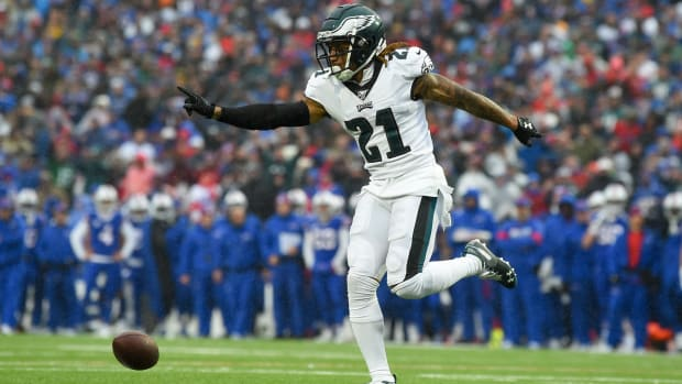 Philadelphia Eagles cornerback Ronald Darby celebrates a defensive play against the Buffalo Bills during the third quarter at New Era Field.