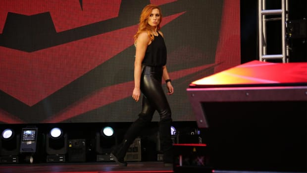 WWE's Becky Lynch on the set of Raw