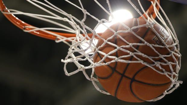 A basketball in a net